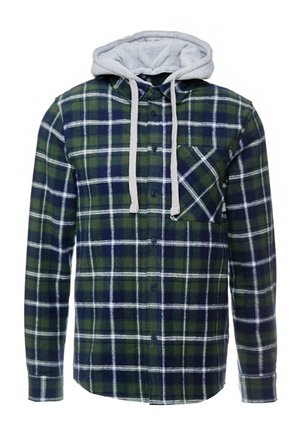 HOODED CHECK SHIRT - Chemise - deep forest green
