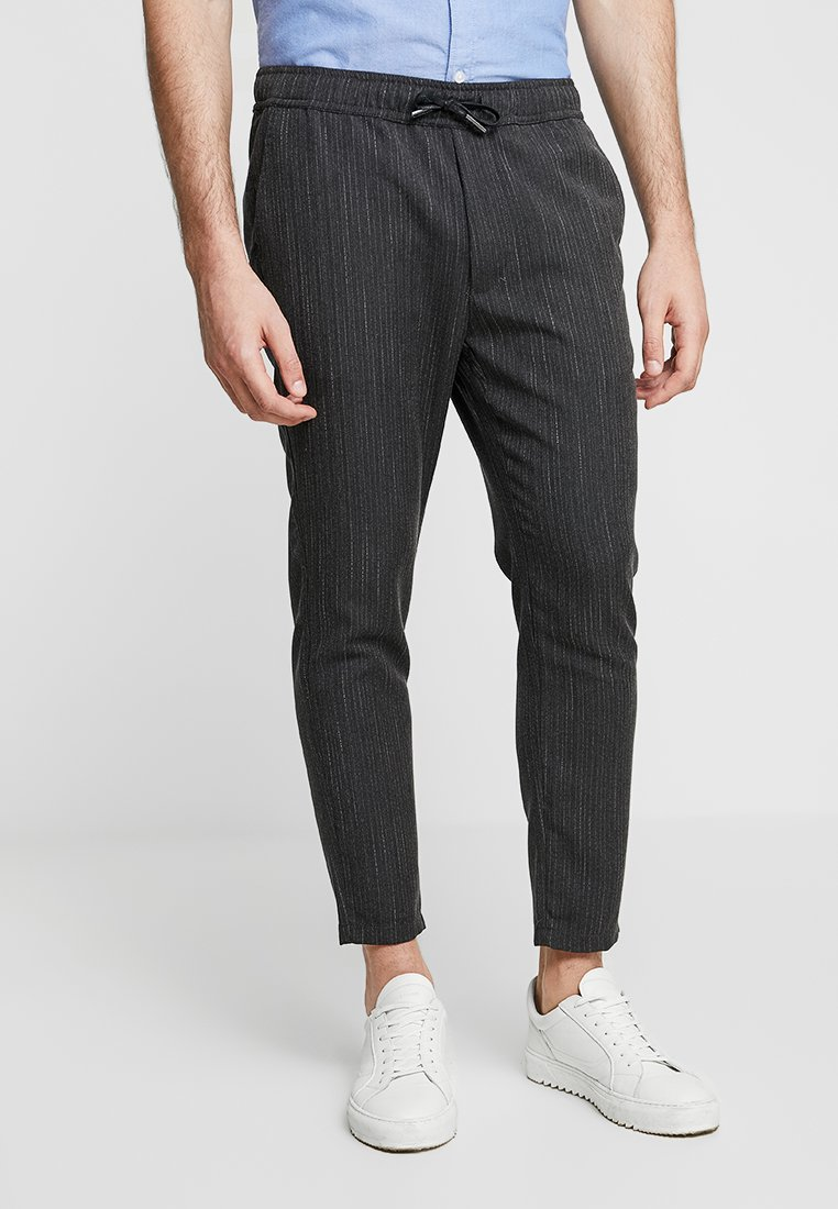 Solid - TRUC PINESTRIPE - Trousers - dark grey melange