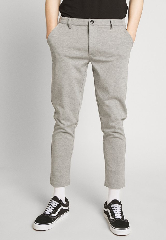 PANTS DAVE BARRO - Tygbyxor - mottled dark grey, mottled dark grey