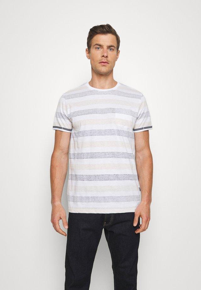 KADEEM STRIPE - Print T-shirt - gray blue