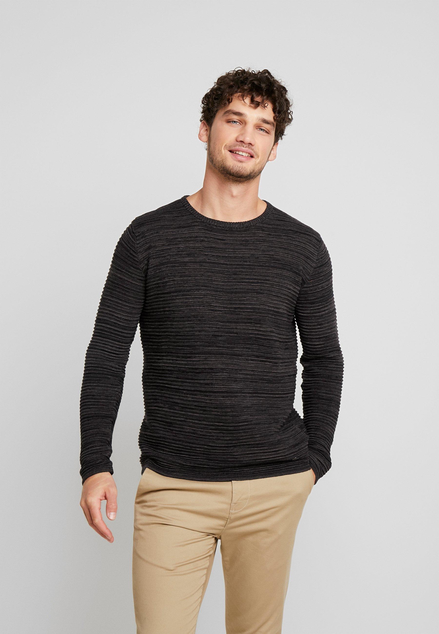 Solid STRUAN - Sweter - dark grey melange