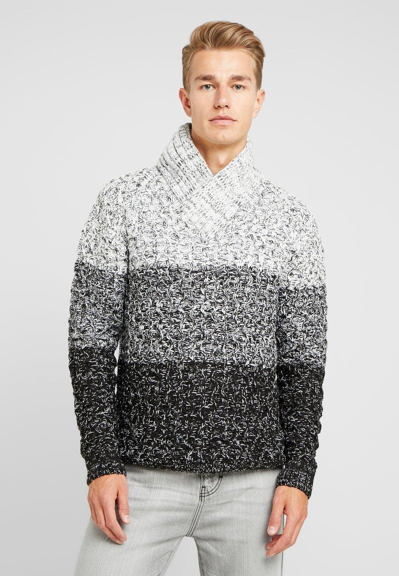 Solid - FAROL SHAWL COLLAR - Neule - black/ white/ grey