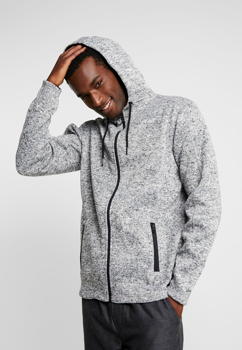 Solid - ZIP HOODIE - Cardigan - light grey melange
