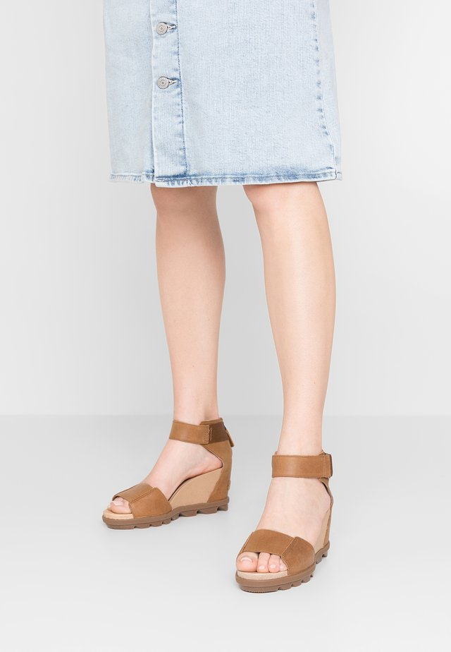 JOANIE - Wedge sandals - camel/brown