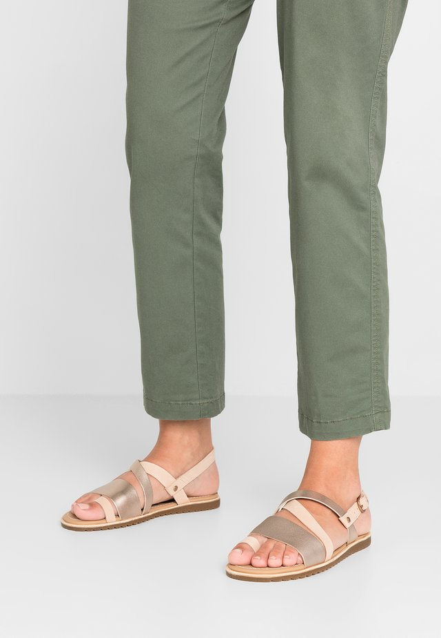 ELLA CRISS CROSS - T-bar sandals - natural tan