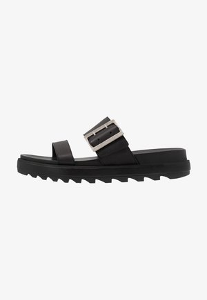 ROAMING BUCKLE SLIDE - Muiltjes - black