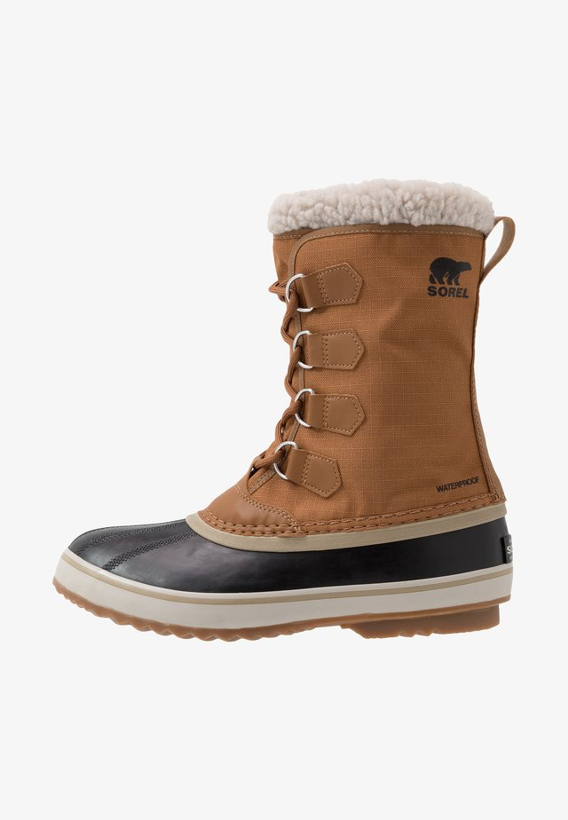 Winter boots - camel brown/black