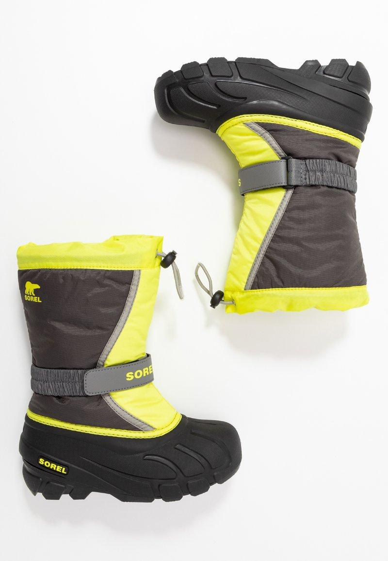 Sorel - YOUTH FLURRY - Winter boots - dark grey/warning yellow