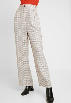 KAIA PANTS - Pantalones - antique white/check pattern
