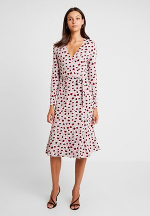 WRAP DRESS - Jersey dress - light grey/red