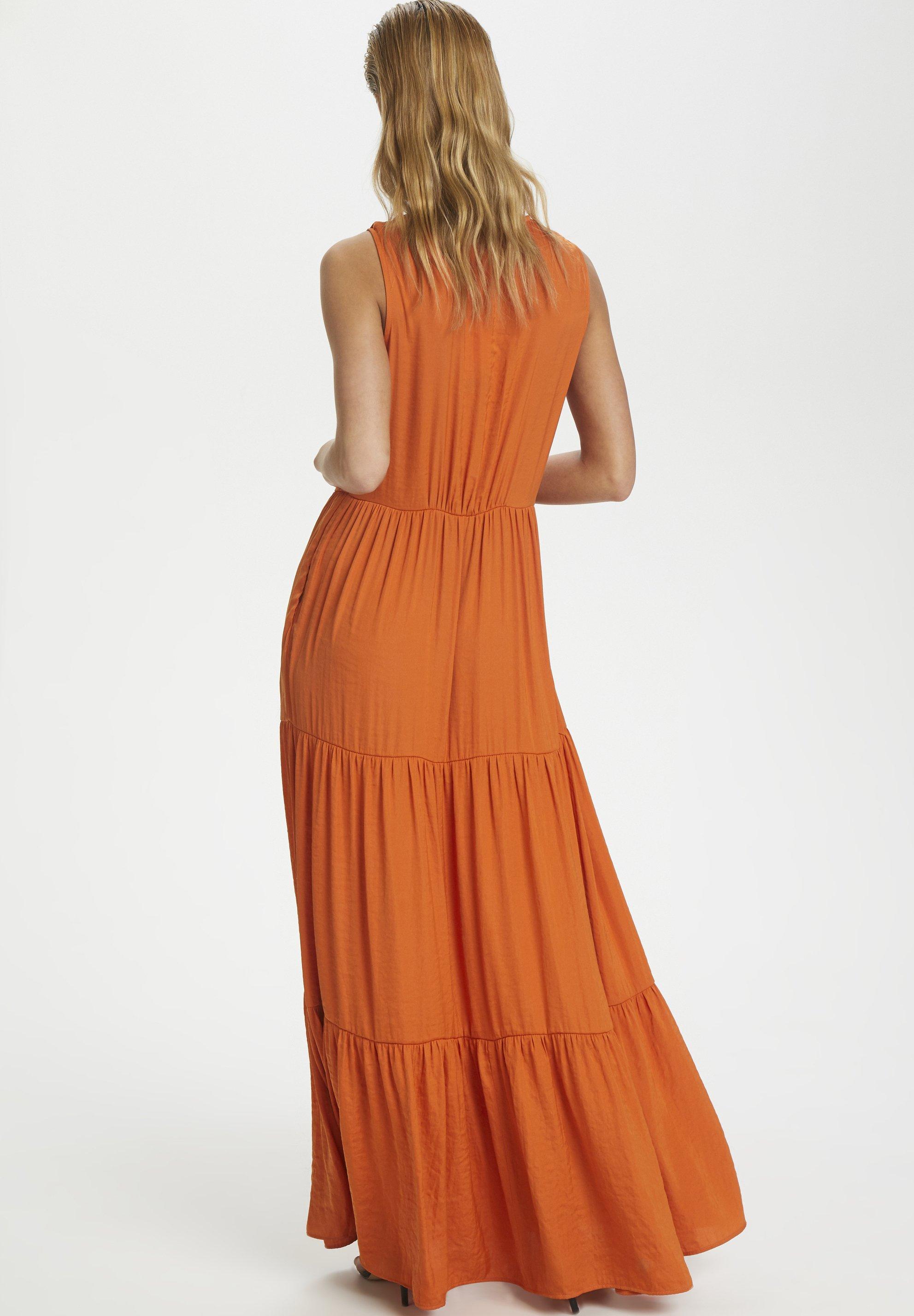 Soaked In Luxury Slkellan Maxi Dress - Vestito Lungo Burnt Orange x33C0SB