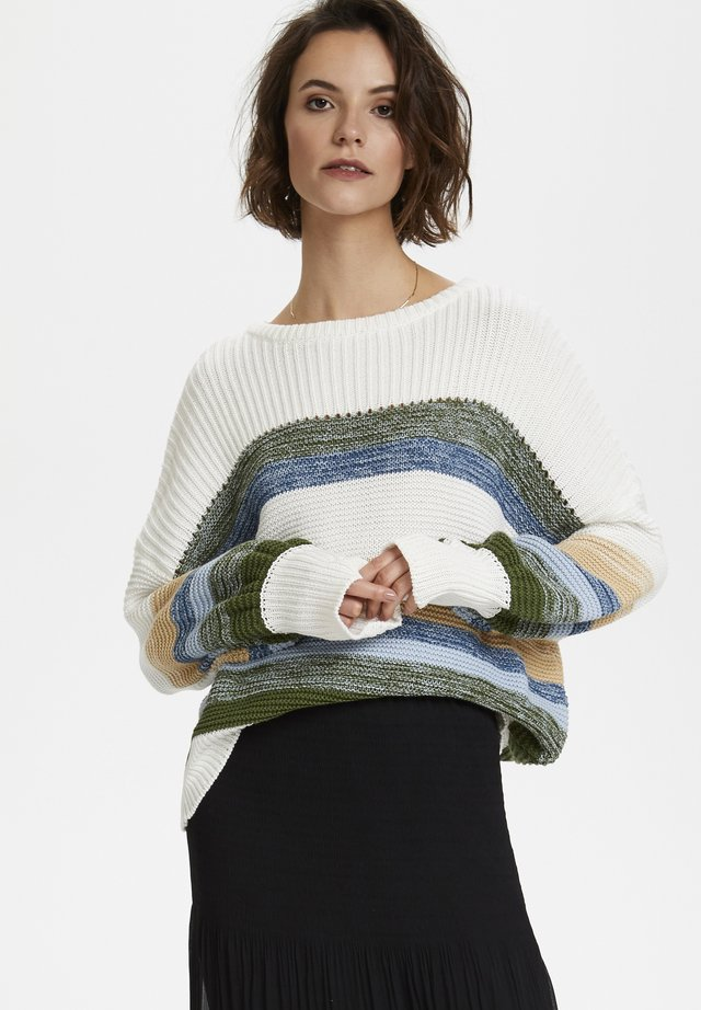 SLPANNA  - Stickad tröja - whisper white stripe