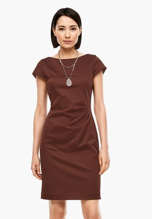 MIT DRAPIERUNG - Shift dress - brown
