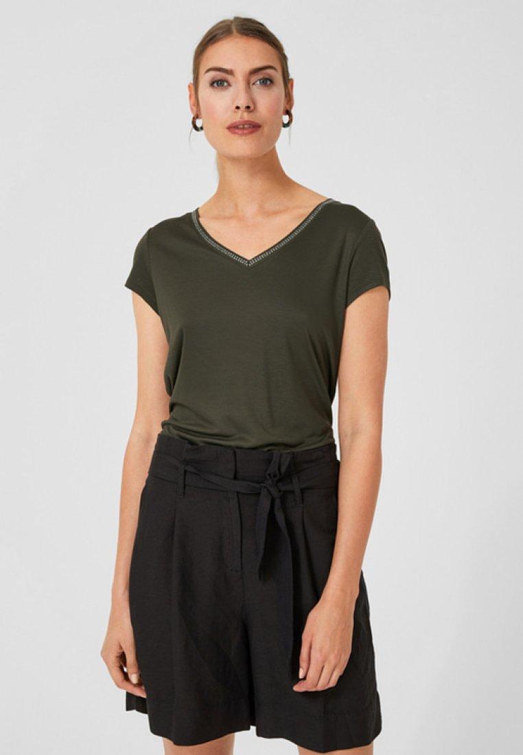 s.Oliver BLACK LABEL - MIT SCHMUCKDETAIL - T-Shirt print - khaki