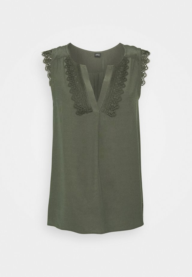 ÄRMELLOS - Blouse - dark khaki green