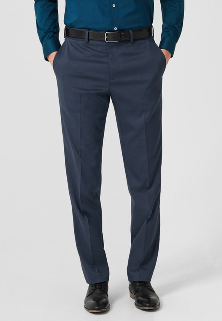 s.Oliver BLACK LABEL - MIT STRUKTURMUSTER - Suit trousers - blue
