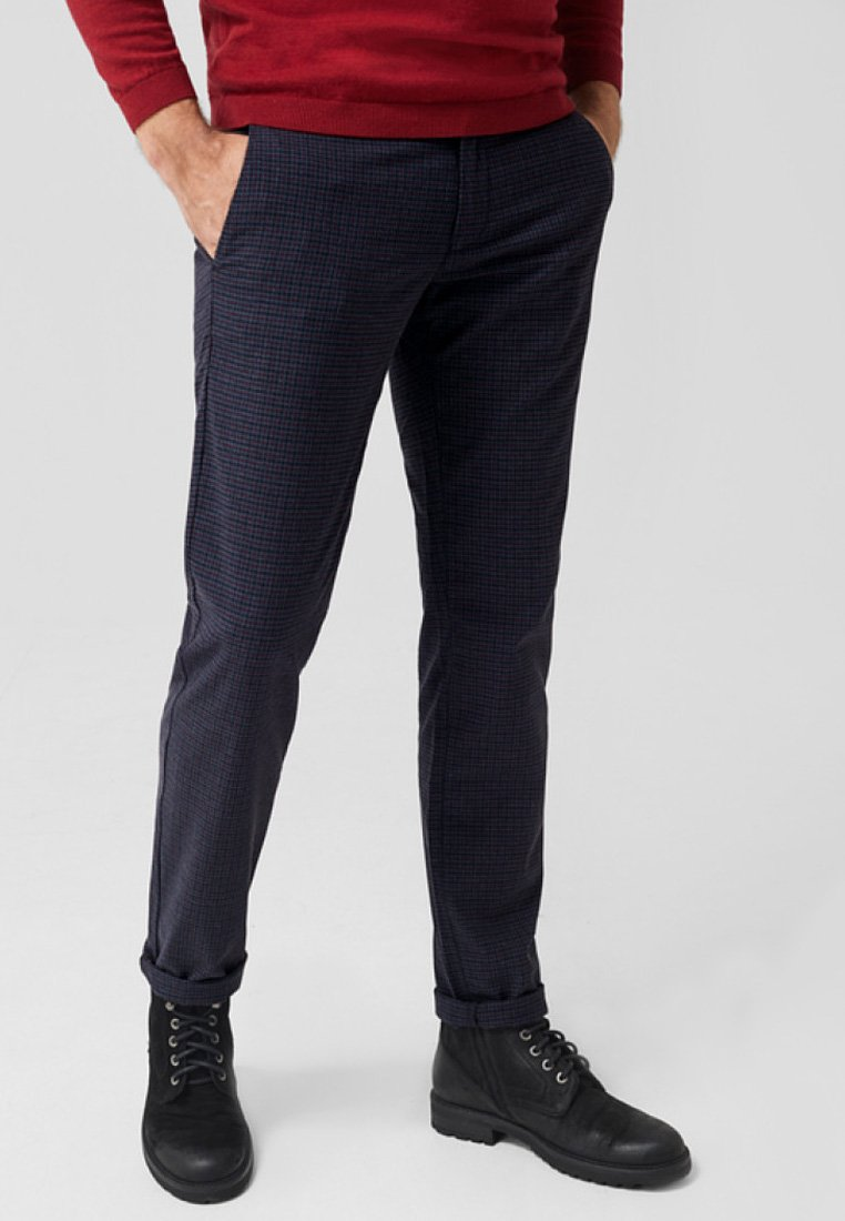 s.Oliver BLACK LABEL - MIT HAHNENTRITTMUSTER - Chino - gray