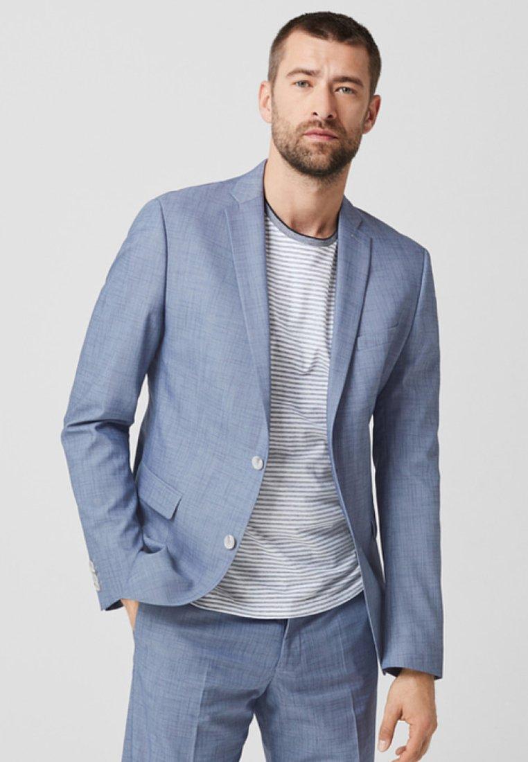 s.Oliver BLACK LABEL - MIT WEBMUSTER - Blazer jacket - blue melange