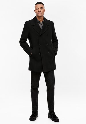 MIT FISCHRATSTRUKTUR - Short coat - black