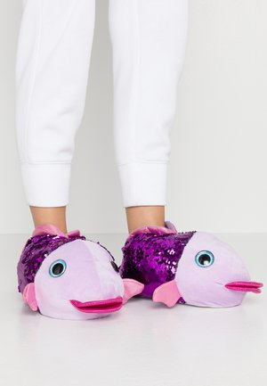 BLUE MULTI SEQUIN FISH SLIPPER - Slippers - purple
