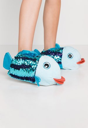 BLUE MULTI SEQUIN FISH SLIPPER - Kapcie - blue