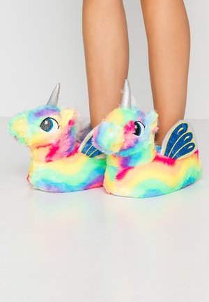 RAINBOW FLYING UNICORN SLIPPERS - Kapcie - multicolor