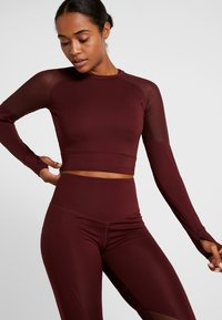 South Beach - LONG SLEEVE INSERT CROP  - T-shirt à manches longues - burgundy - 0