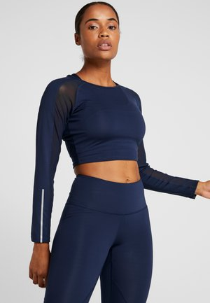 LONG SLEEVE INSERT CROP - Long sleeved top - navy