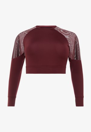 CURVE LONG SLEEVE INSERT CROP TOP - Sportshirt - burgundy