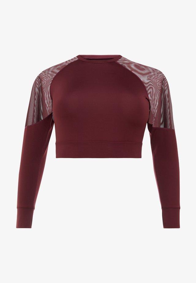 CURVE LONG SLEEVE INSERT CROP TOP - Sportshirt - burgundy