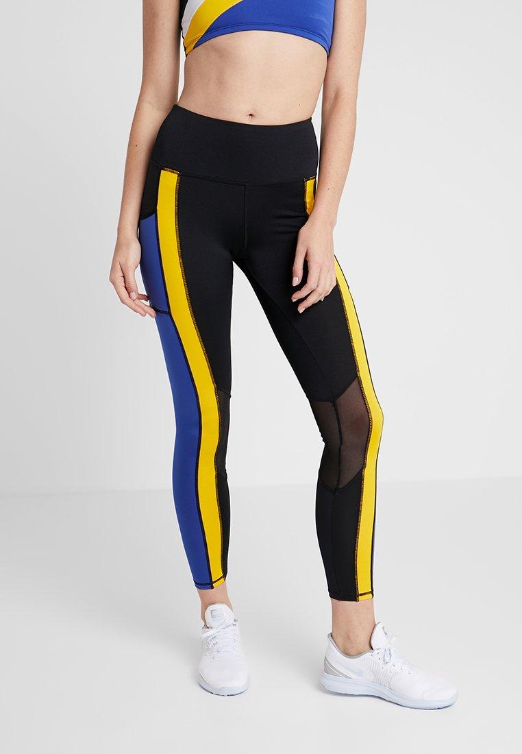 South Beach - STRIPE LEGGING - Tights - black/yellow