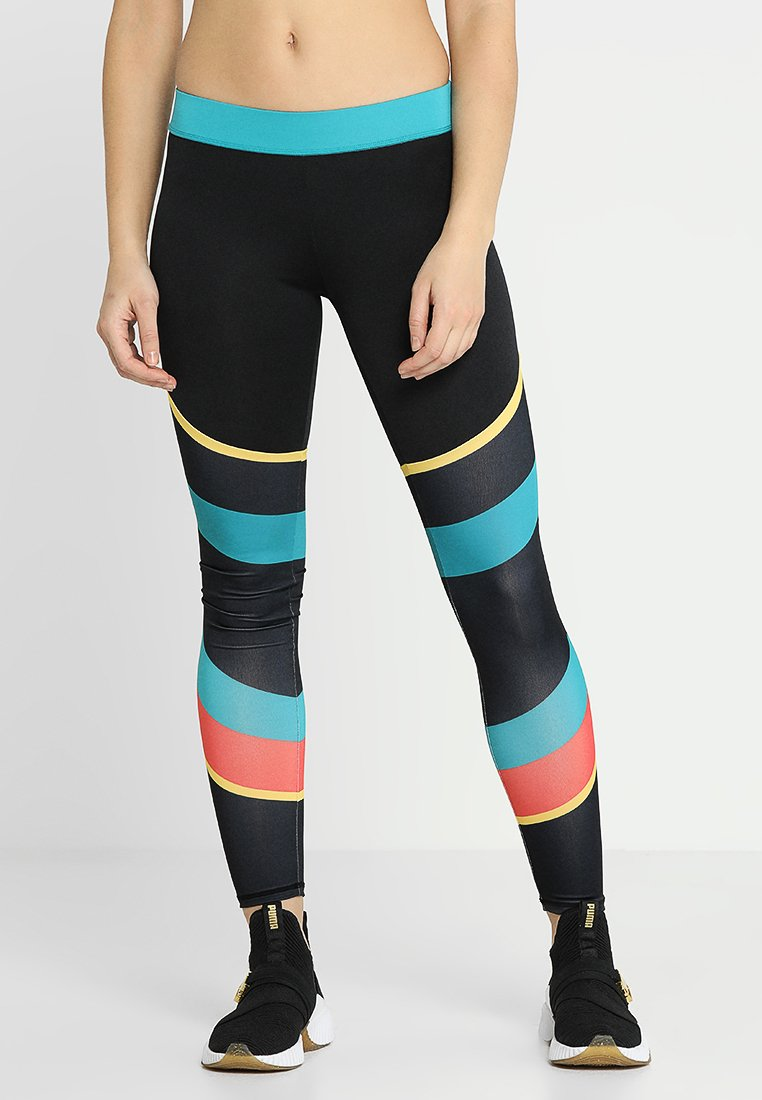 South Beach - COLOURBLOCK GYM LEGGING - Medias - black