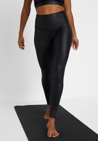 South Beach - WETLOOK HIGHWAIST - Legging - black - 0