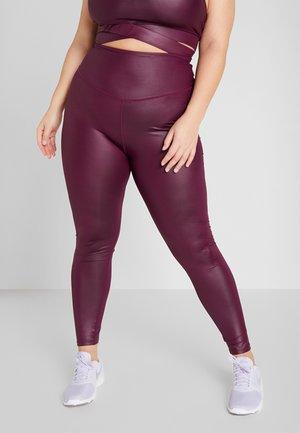CURVE WETLOOK HIGHWAIST LEGGING - Leggings - burgundy