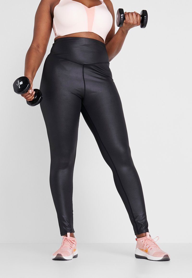 South Beach - CURVE WETLOOK HIGHWAIST LEGGING - Trikoot - black