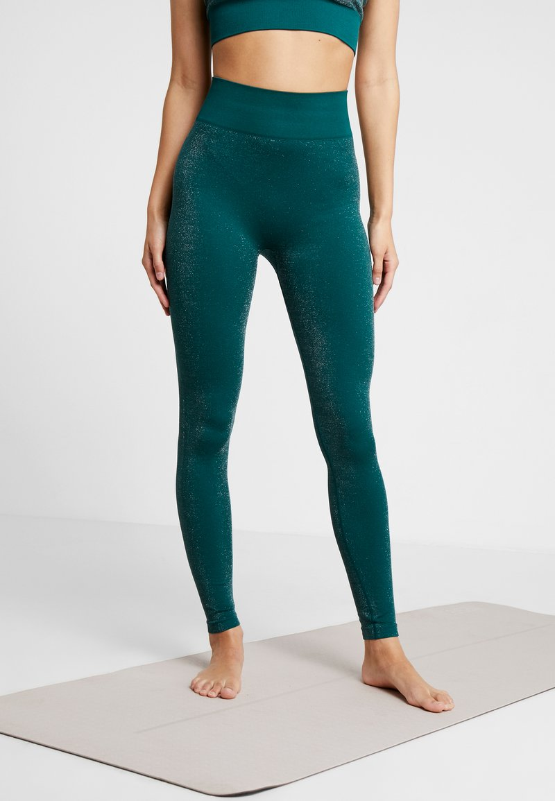South Beach - HIGH WAISTED SEAMLESS LEGGING - Trikoot - silve/green