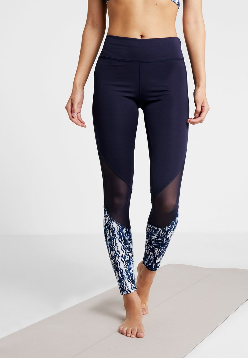 South Beach - WITH MARBLE FITNESS THREE SECTION LEGGING - Tights - navy