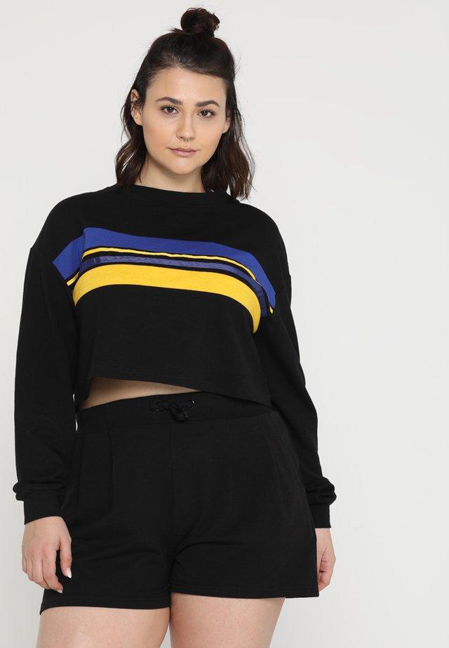 STRIPE JUMPER LOOP BACK WITH OPEN BACK - Sweatshirt - black