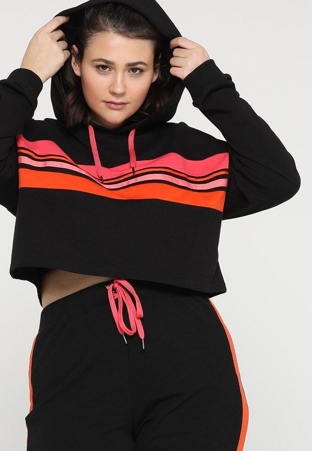 CROPPED STRIPE HOODY LOOP BACK  - Sweater - black/pink