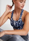 South Beach - MARBLE FITNESS MARBLE CROP - Sports bra - navy