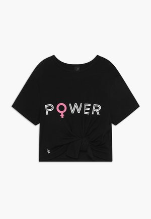 GIRLS POWER KNOT - T-shirt z nadrukiem - black