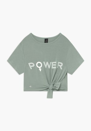 GIRLS POWER KNOT - T-shirt z nadrukiem - sage green