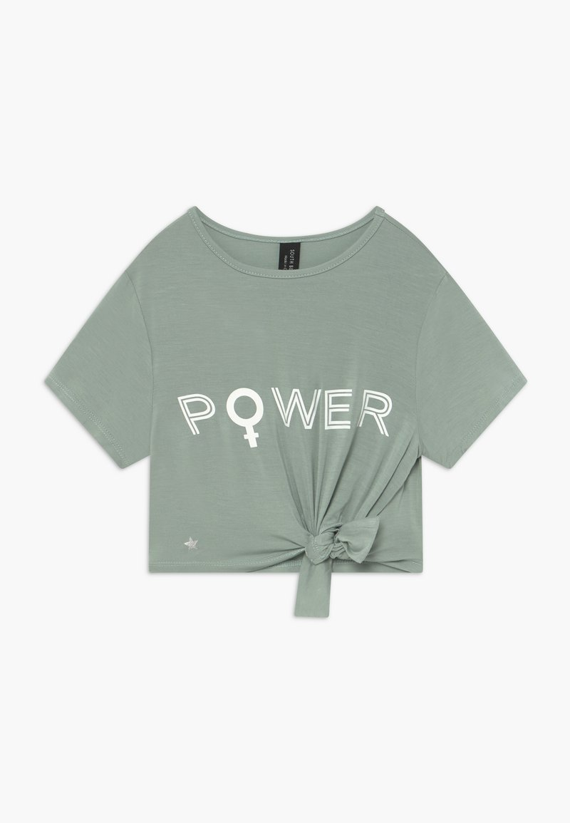 South Beach - GIRLS POWER KNOT - T-shirt con stampa - sage green