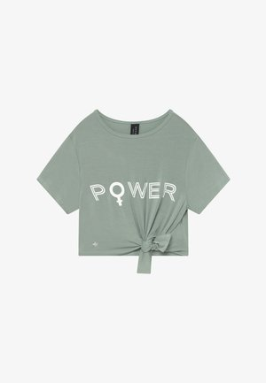 GIRLS POWER KNOT - T-shirt con stampa - sage green