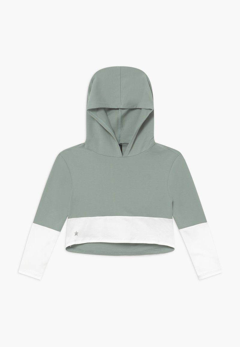 South Beach - GIRLS COLOR BLOCK HOODIE - Jersey con capucha - sage green/white