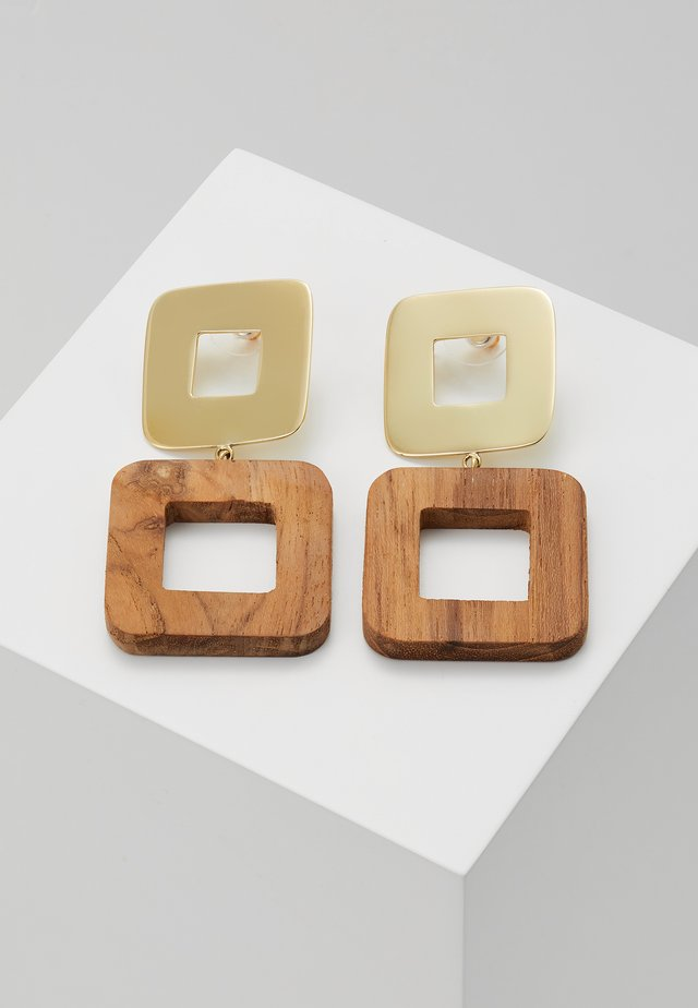 OLEA SQUARE EARRINGS - Boucles d'oreilles - gold-coloured/brown