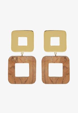 OLEA SQUARE EARRINGS - Oorbellen - gold-coloured/brown