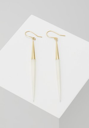 CAPPED QUILL DANGLE EARRINGS - Örhänge - gold-coloured/white