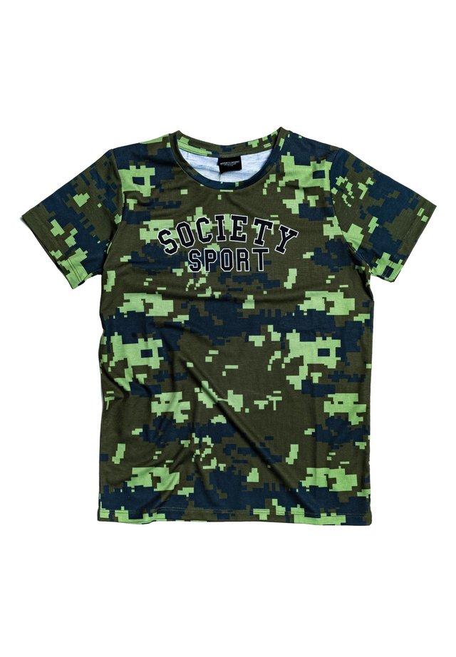 Print T-shirt - khaki/black