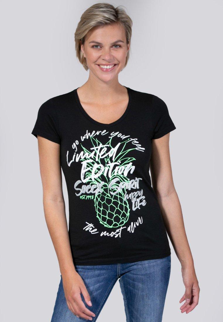 Soccx - MIT V-AUSSCHNITT  - T-Shirt print - black